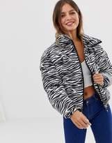 Brave Soul padded jacket in zebra print