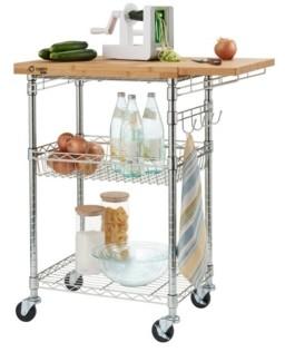 Trinity Pro EcoStorage Expandable Bamboo Chrome Top Kitchen Cart