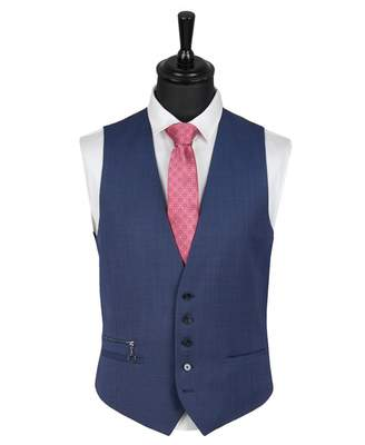 HUGO Vin 184 Textured Weave Waistcoat Colour: NAVY, Size: 40