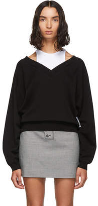 Alexander Wang Black and White Cropped Bi-Layer V-Neck Sweater