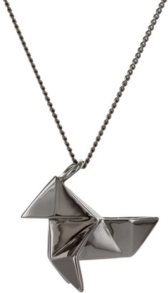 Origami Jewellery Cuckoo Necklace Sterling Silver Gun Metal