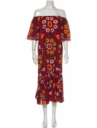 Rhode Resort Floral Print Midi Length Dress Floral Print Midi Length Dress