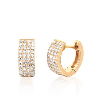 Ef Collection 14ct Yellow Gold And Diamond Wide Huggie Earrings