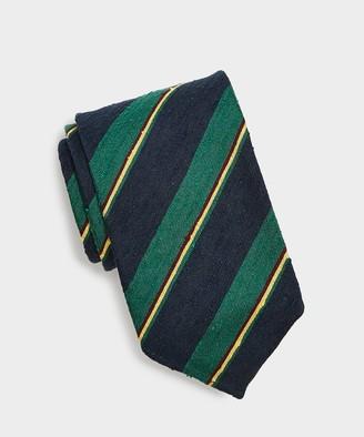 Drakes Drake's Summer Stripe Tie in Navy/Green