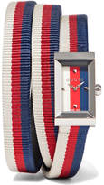 Gucci Striped Canvas, Leather And Silver-tone Watch - Navy