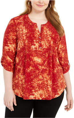 NY Collection Plus Size Printed Pleated Top