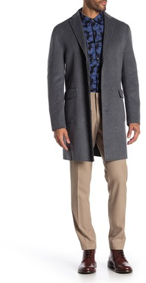 DKNY Grey Solid Button Coat