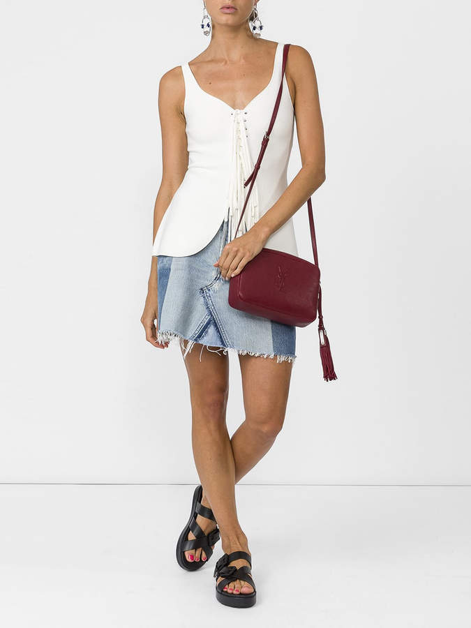 Alexander Wang Fringed lace-up tank top