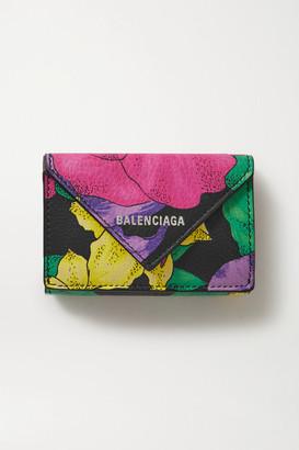 Balenciaga Papier Floral-print Textured-leather Cardholder - Black