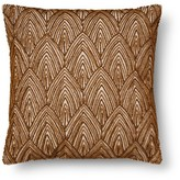 Threshold Beaded Scallop Square Decorative Pillow Brown