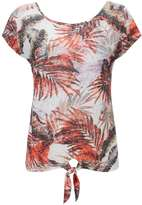 Palm Printed Tie Front Top