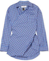 Facetasm Embroidered Checked Cotton-poplin Shirt - Blue