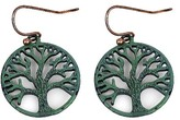 N by nOir Women's Fishhook Tree of Life Fish hook earring set Patina 2 inches - Green