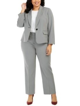 Le Suit Plus Size Micro-Print Pants Suit