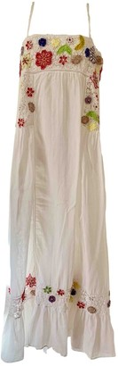 Emamo White Cotton Dress for Women