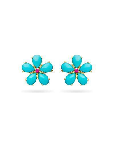 Paul Morelli Small Turquoise Petal Button Earrings with Rubies