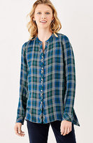 J. Jill Plaid Dipped-Hem Shirt