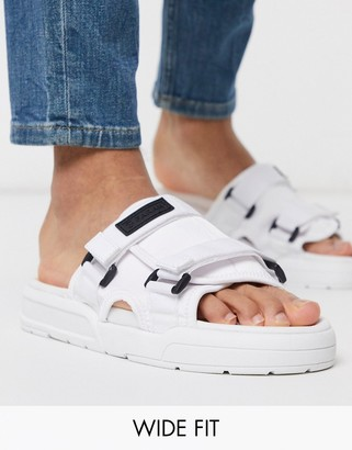 Farah wide fit two buckle chunky sandal in white