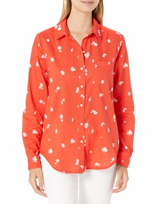 Lucky Brand Women's Long Sleeve Button Up Printed Classic One Pocket Shirt