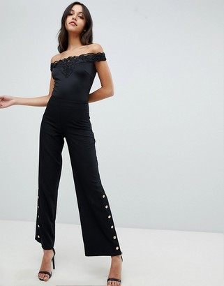 Lipsy Stretch Pants with Button Side Detail
