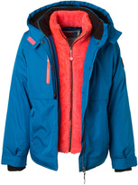Big Chill Greek Blue & Coral Double-Layer Hooded Jacket - Girls