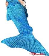 "Crochet Mermaid Tail Blanket / Living Room Bedroom Sofa Super Soft Adult Blankets Sleeping Bags (72""x36"") (Blue)"
