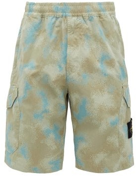 Stone Island Camouflage-print Cotton Cargo Shorts - Mens - Grey
