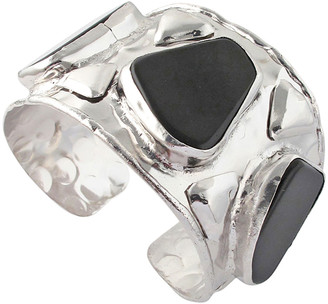 Devon Leigh Black Agate Rhodium Cuff