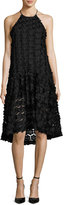 Zac Posen Sinead Sleeveless 3D Floral Cocktail Dress, Black