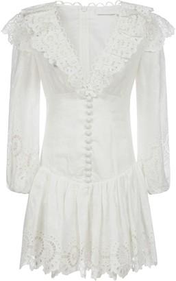 Zimmermann Bellitude Scallop Linen Mini Dress