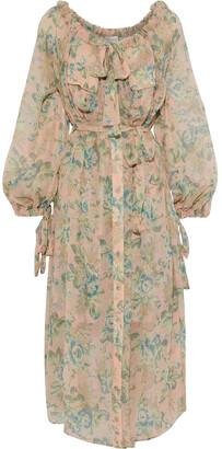 Zimmermann Tempest Pussy-bow Floral-print Silk-georgette Midi Dress