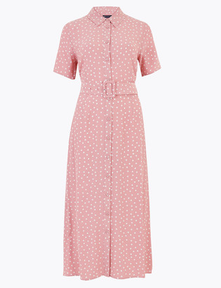 Marks and Spencer Polka Dot Belted Midi Shirt Dress