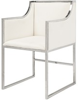 The Well Appointed House Worlds Away Anabelle Nickel Occasional Chair with White Velvet Upholstery