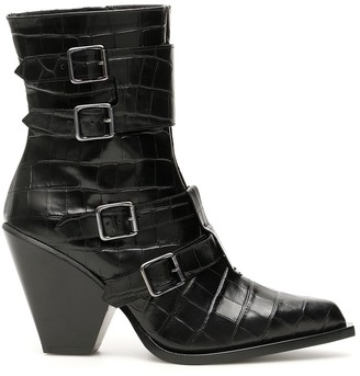 Pinko Western Buckle Ankle Boots