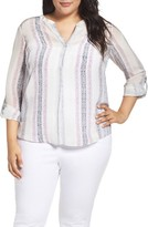 Nic+Zoe Plus Size Women's Silk Stripe Top