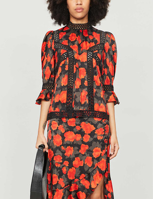 The Kooples Floral-print high-neck crepe blouse