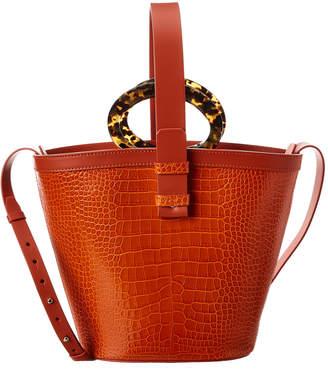 Nico Giani Nelia Large Croc-Embossed Leather Bucket Bag