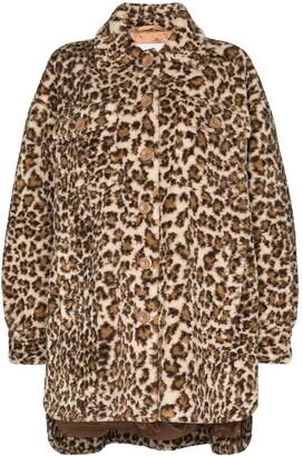 Stand Studio Sabi leopard-print faux shearling coat