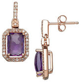 Lord & Taylor Amethyst, Diamond and 14K Rose Gold Drop Earrings