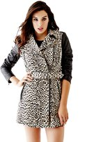 GUESS Quilted Faux Leather-Sleeve Trench Coat