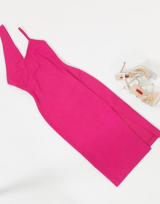 Aq/Aq AQAQ midi dress with cut out detail in pink