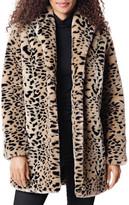 Fabulous Furs Leopard Faux Fur Shawl Jacket