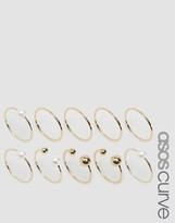 Asos Pack of 10 Faux Pearl Open & Mixed Rings