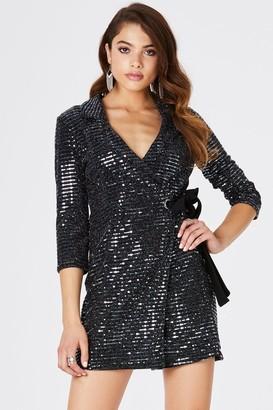 Girls On Film Vernon Black Lurex Tuxedo Wrap Dress