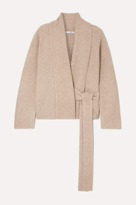 Le 17 Septembre LE 17 SEPTEMBRE - Ribbed-knit Wrap Cardigan - Light brown