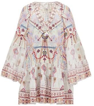 Camilla Tanami Road Printed Bell-sleeved Silk Dress - White Multi
