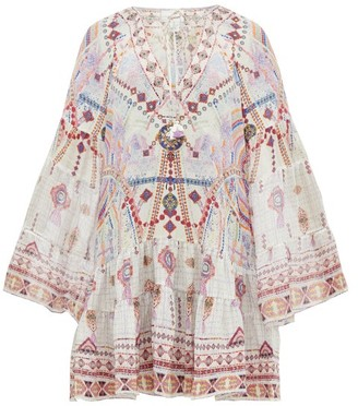 Camilla Tanami Road Printed Bell-sleeved Silk Dress - Womens - White Multi
