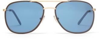 L.g.r Sunglasses - Rabat Leather And Metal Aviator Sunglasses - Blue