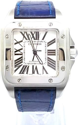 Cartier 2656 Santos 100 Stainless Steel Blue Strap 51.1 mm x 41.3 mm Watch