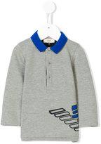 Armani Junior logo print polo shirt